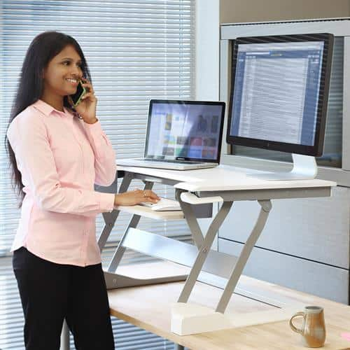Ergotron WorkFit-T Standing Desk Workstation (Medium) – Black / White