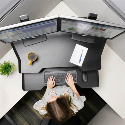 Ergotron WorkFit Corner Standing Desk Workstation – Black