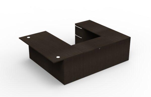 Elite Verde Straightfront U-Shaped Desk (Left Return) – 72 x 35 x 42/48 Bridge – Espresso/Latte Bamboo