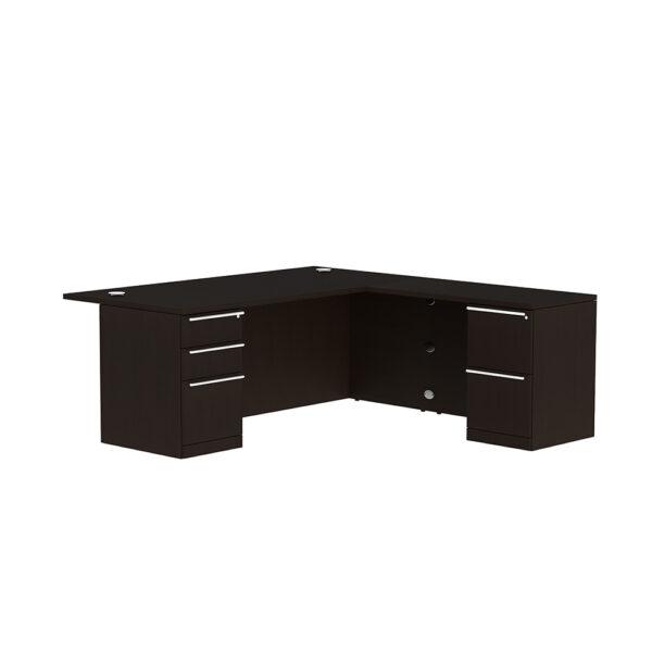 Elite Verde Straightfront L-Shaped Desk – 72 x 35 x 42/48 Bridge – Espresso/Latte Bamboo