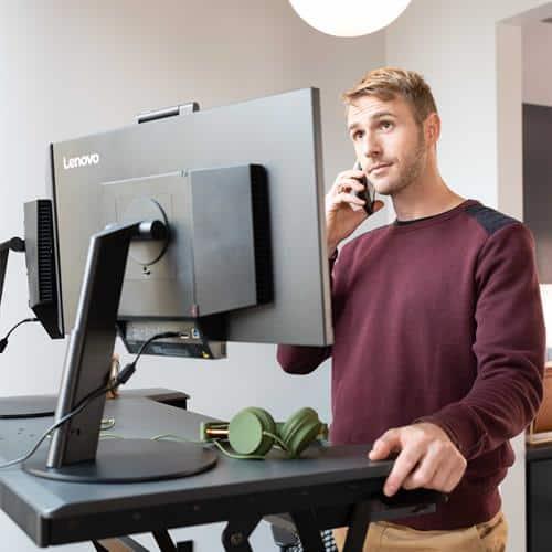 Ergotron WorkFit-TL (TAA Compliant) Standing Desk Workstation (Large) – Black
