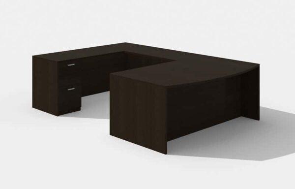 Elite Amber Bowfront U-Shaped Desk (Left Return) – 72 x 36 x 42