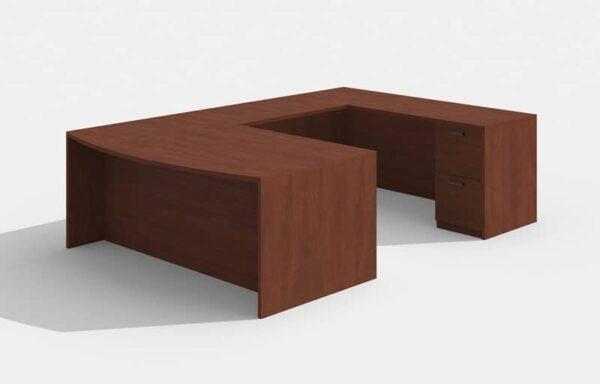 Elite Amber Bowfront U-Shaped Desk (Right Return) – 72 x 36 x 42