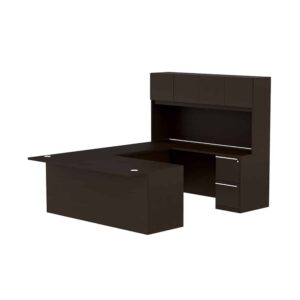 Elite Verde Straightfront U-Shaped Desk + Hutch – 72 x 35 x 42/48 Bridge – Espresso/Latte Bamboo